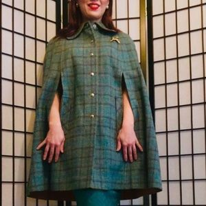 Vintage Pendleton Plaid Wool Cape and Skirt Set